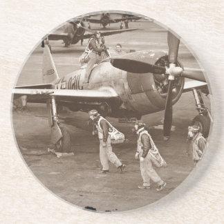 Pilotos de caza que entrenan en los rayos P-47 Posavasos Manualidades