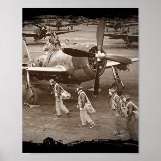Pilotos de caza que entrenan en los rayos P-47 Póster
