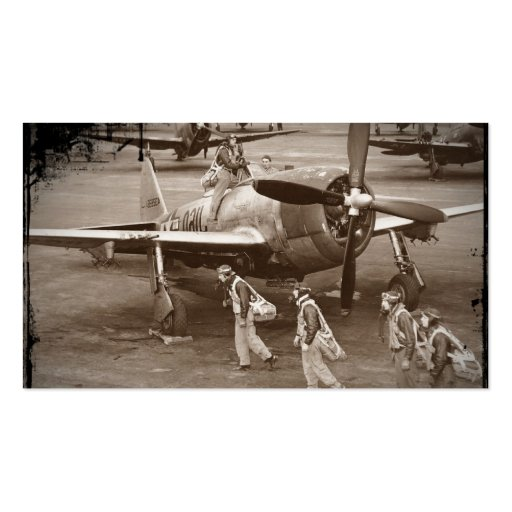 Pilotos de caza que entrenan en los rayos P-47 Plantilla De Tarjeta Personal
