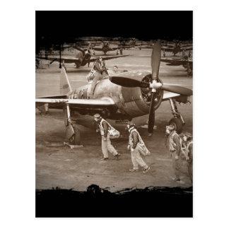 Pilotos de caza que entrenan en los rayos P-47 Postales