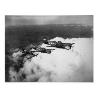 Pilotos del negro en aviones de combate Tiburón-So Tarjetas Postales