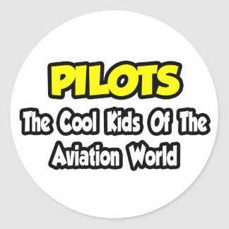 Pilots...Cool Kids of Aviation World Classic Round Sticker