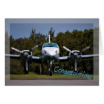 Pilots license. Getting your wings. Congratulation Greeting Card