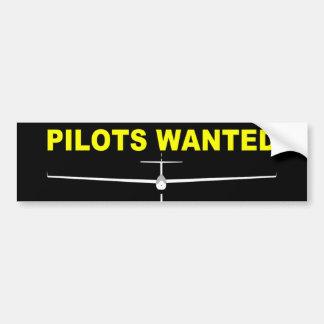 PILOTS WANTED CAR BUMPER STICKER