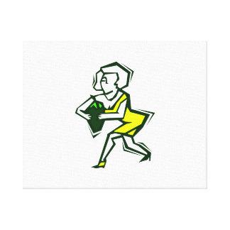 Pimienta a disposición de la mujer amarilla en ves impresión de lienzo