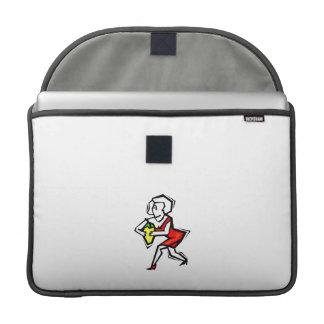 Pimienta a disposición de la mujer en vestido rojo fundas para macbooks