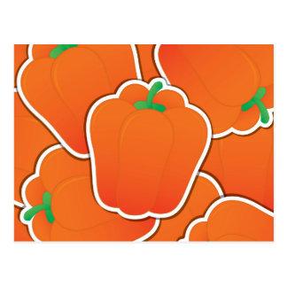 Pimienta anaranjada enrrollada tarjetas postales