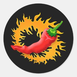 Pimienta de chile con los pegatinas de la llama pegatina redonda