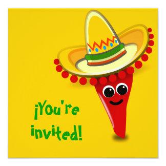 Pimienta de chile en un sombrero invitación 13,3 cm x 13,3cm