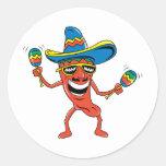 Pimienta de chile mexicana pegatinas redondas