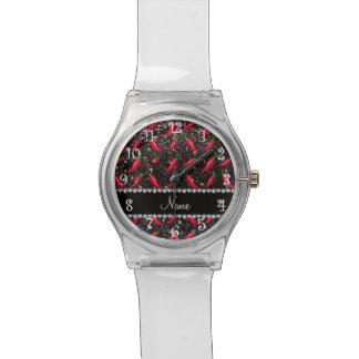 Pimienta de chile negra conocida personalizada del relojes de mano