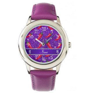 Pimienta de chile púrpura del brillo del añil relojes de mano