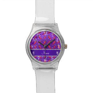 Pimienta de chile púrpura del brillo del añil relojes de pulsera