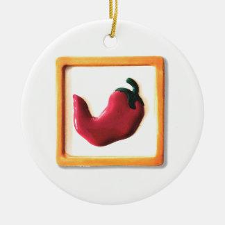 Pimienta de chile rojo adorno navideño redondo de cerámica