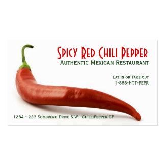 Pimienta de chile rojo caliente tarjetas de visita