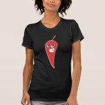 Pimienta de chile rojo caliente y picante camisetas