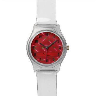 Pimienta de chile rojo conocida personalizada relojes de pulsera