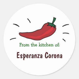 Pimienta de chile rojo de la cocina de etiquetas