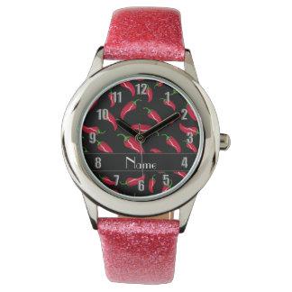 Pimienta de chile rojo negra conocida reloj de mano