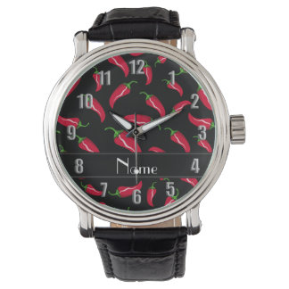 Pimienta de chile rojo negra conocida reloj