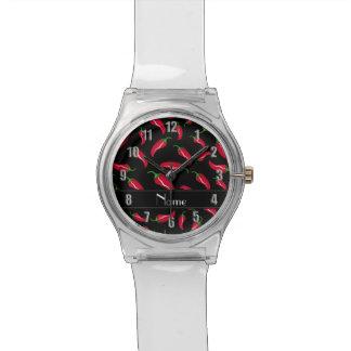 Pimienta de chile rojo negra conocida relojes de pulsera