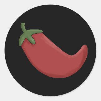Pimienta de chile rojo pegatinas redondas