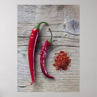 Pimienta de chile rojo póster