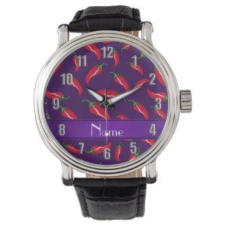 Pimienta de chile rojo púrpura conocida relojes