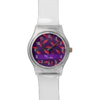 Pimienta de chile rojo púrpura conocida reloj de mano