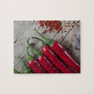 Pimienta de chile rojo rompecabezas con fotos