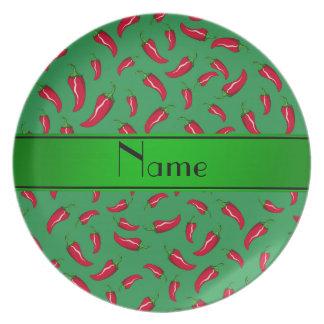 Pimienta de chile rojo verde conocida personalizad