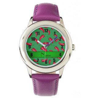 Pimienta de chile rojo verde conocida relojes de pulsera