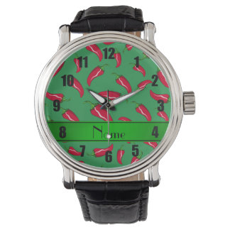 Pimienta de chile rojo verde conocida reloj de mano