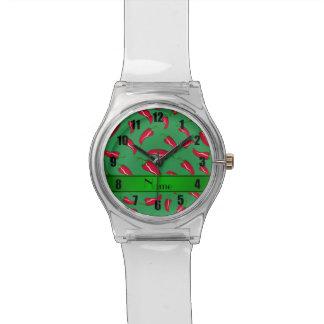 Pimienta de chile rojo verde conocida reloj