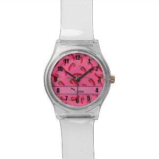 Pimienta de chile rosada conocida personalizada relojes de pulsera