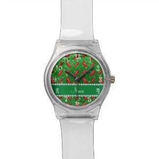 Pimienta de chile verde conocida de encargo del reloj de mano