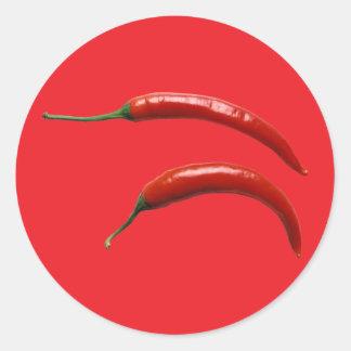 Pimienta del chile picante pegatina redonda