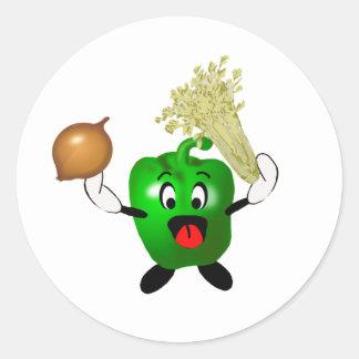 Pimienta verde feliz Cajun que cocina trinidad Pegatina Redonda
