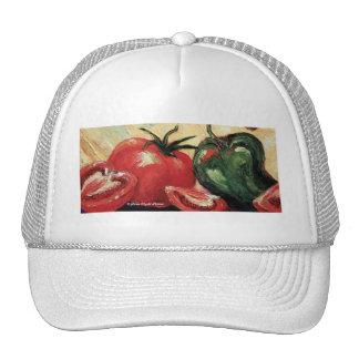 Pimienta verde y tomate gorras de camionero