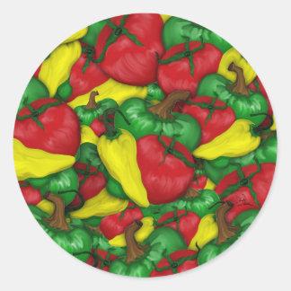 Pimientas calientes del tomate pegatina redonda
