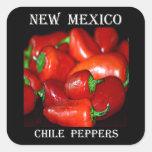 Pimientas de chile de New México (Chile) Calcomanías Cuadradass Personalizadas