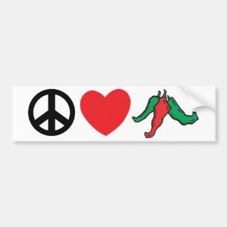 Pimientas de Chile del amor de la paz Etiqueta De Parachoque