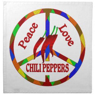 Pimientas de chile del amor de la paz servilletas imprimidas
