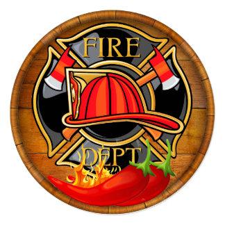 """Pimientas de chile del cuerpo de bomberos invitación 5.25"""" x 5.25"""""""