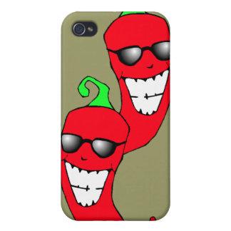 Pimientas de Chile en el caso de Techie Iphone 4 d iPhone 4/4S Funda