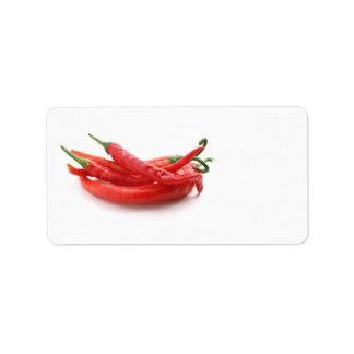 pimientas de chile etiqueta de dirección