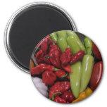Pimientas de chile imán redondo 5 cm