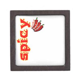 Pimientas de chile llameantes candentes picantes cajas de joyas de calidad