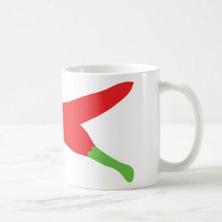 pimientas de chile rojo cruzadas taza