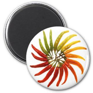 Pimientas del chile picante imán redondo 5 cm